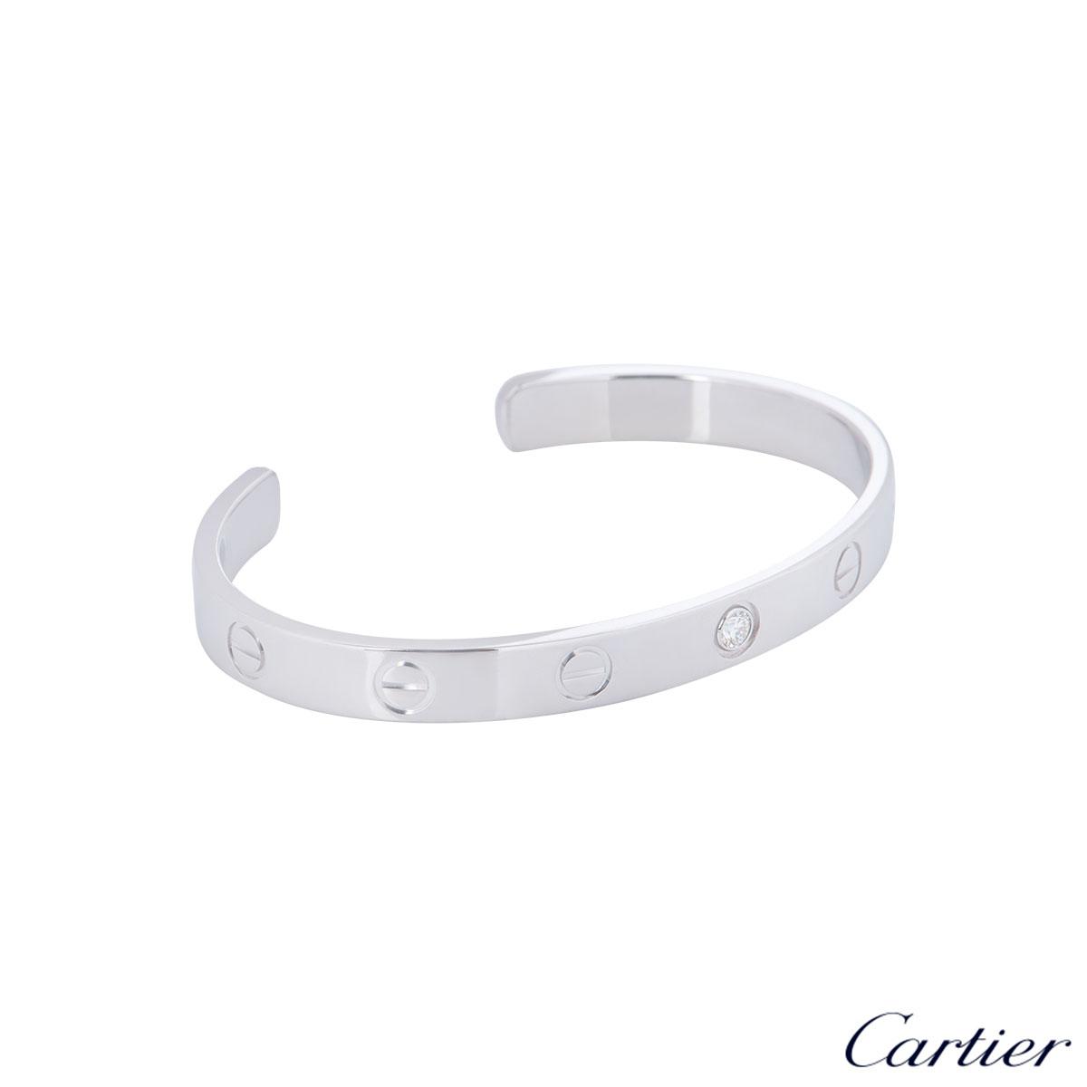 Cartier White Gold Diamond Cuff Love Bracelet Size 16 B6029916